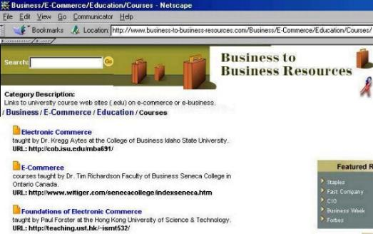 http://www.business-to-business-resources.com/Business/E-Commerce/Education/Courses/